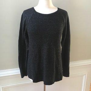 LOFT Oversized Metallic Long Sleeve Ribbed Sweater